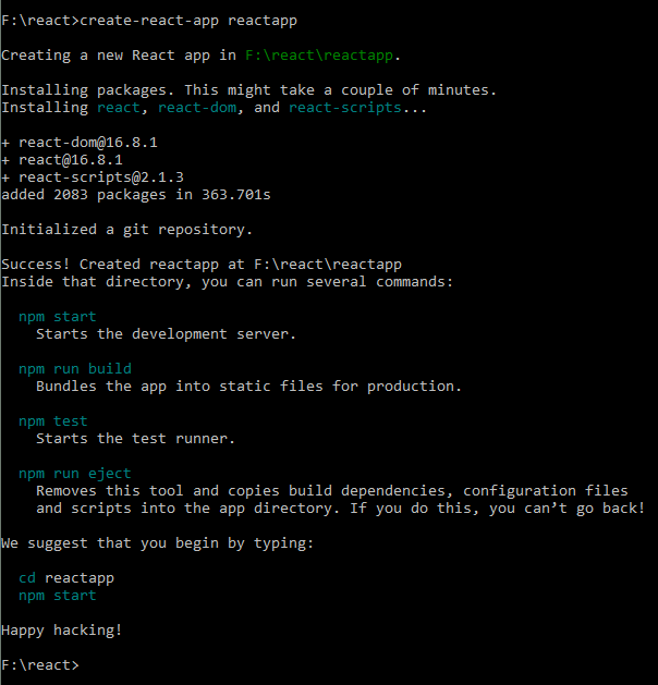 react app creation