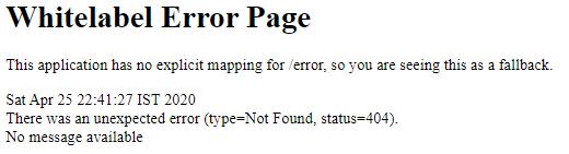Spring boot MVC landing error page