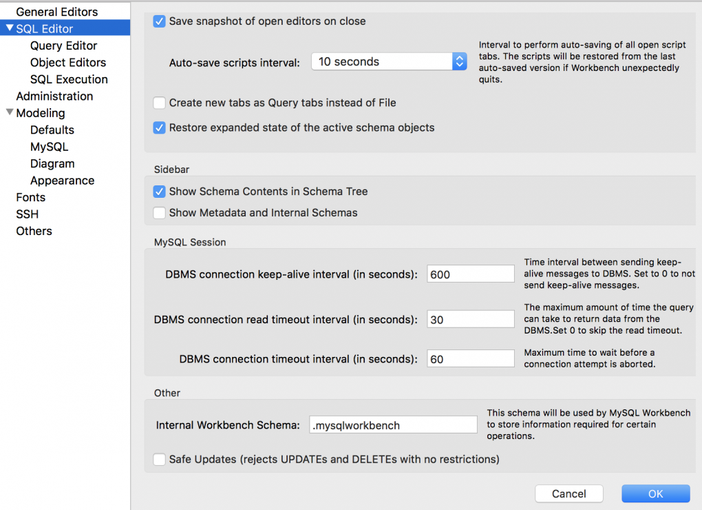 turn safe updates off from mysql workbench preferences