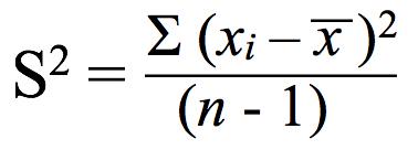 Variance formula to calculate standard deviation