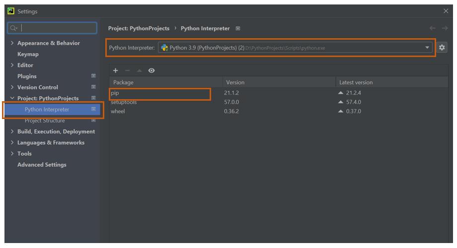 Project settings window in PyCharm